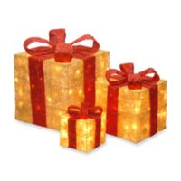 national tree company sisal pre lit gift boxes in goldred set of