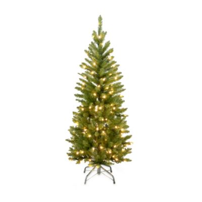 national tree 45 foot kingswood fir hinged pencil tree pre lit with 150 clear - Small Christmas Trees With Lights