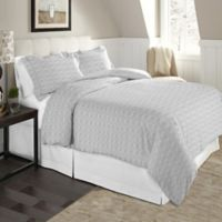 Pointehaven Winter Wonderland Twin/Twin XL Flannel Duvet Cover Set in White/Grey