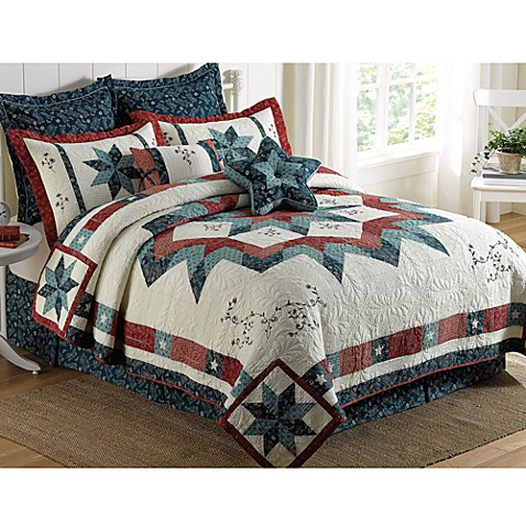 Freedom Star Pieced Embroidered Quilt 100 Cotton Bed