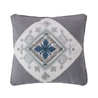 Levtex Home Tania Crewel Medallion Square Throw Pillow in Grey