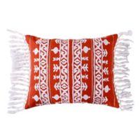 Levtex Home Assam Crewel Tassel Trim Oblong Throw Pillow in Red