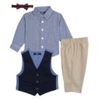 Nautica® Size 12M 4-Piece Twill Vest Set