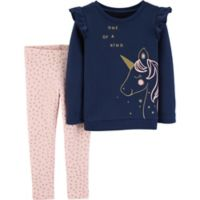 carter's® Size 9M 2-Piece Unicorn Top and Pant Set in Navy