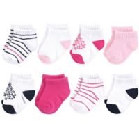 Yoga Sprout Size 6-12M 6-Pack No-Show Damask Ankle Socks in White