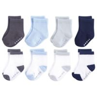 Luvable Friends® Size 0-6M 8-Pack Non-Skid Crew Socks in Blue/Grey