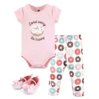 Hudson Baby® Size 6-9M 3-Piece Donut Worry Bodysuit, Pant and Shoe Set