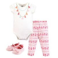 Little Treasures Size 0-3M 3-Piece Necklace Bodysuit, Pant and Shoe Set