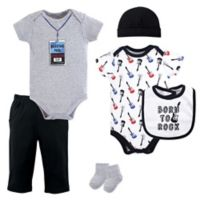 Little Treasures Size 9-12M 6-Piece Born to Rock Layette Set