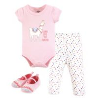 Little Treasures Size 6-9M 3-Piece Llama Love Bodysuit, Pant and Shoe Set