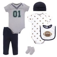 Little Treasures Size 9-12M 6-Piece Football Jersey Layette Set