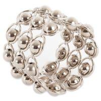 Saro Lifestyle 3-Row Bead Link Design Napkin Rings (Set of 4)