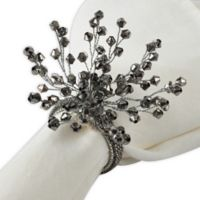 Saro Lifestyle Beaded Wire Napkin Rings in Silver (Set of 4)