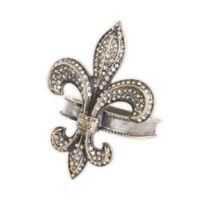 Saro Lifestyle Fleur de Lis Napkin Rings in Gold (Set of 4)