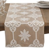 Saro Lifestyle 72-Inch Natural Applique Table Runner