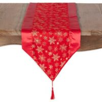 Saro Lifestyle Organza Snowflake 71-Inch Table Runner in Red
