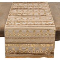 Saro Lifestyle Aztec-Inspired Beaded 72-Inch Table Runner in Gold