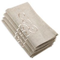 Saro Lifestyle Embroidered Swirl Napkins in Natural (Set of 4)