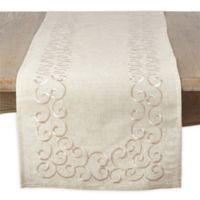 Saro Lifestyle Embroidered Swirl 72-Inch Table Runner in Natural