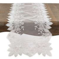 Saro Lifestyle Floral Embroidered Table Runner in Ivory