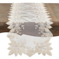 Saro Lifestyle Floral Embroidered Table Runner in Ecru