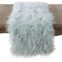 Saro Lifestyle 72-Inch Faux Mongolian Fur Runner in Blue