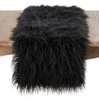 Saro Lifestyle 72-Inch Faux Mongolian Fur Runner in Black