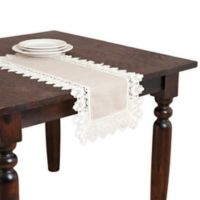Saro Lifestyle Lace 72-Inch Table Runner in Taupe