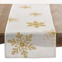 Saro Lifestyle Snowflake 70-Inch Table Runner in Gold