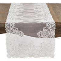 Saro Lifestyle Madelina 72-Inch Floral Embroidery Table Runner in Ivory