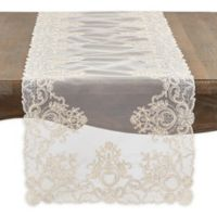 Saro Lifestyle Madelina 72-Inch Floral Embroidery Table Runner in Ecru