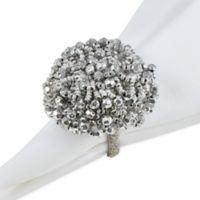 Saro Lifestyle Chunky Beaded Napkin Rings in Silver (Set of 4)