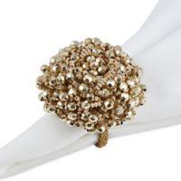 Saro Lifestyle Chunky Beaded Napkin Rings in Gold (Set of 4)