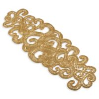 Saro Lifestyle Flower Market 35-Inch Beaded Table Runner in Gold