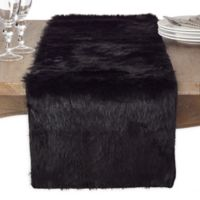 Saro Lifestyle Faux Fur 72-Inch Table Runner in Black