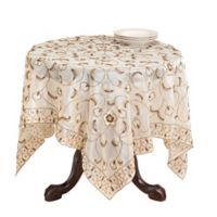 Saro Lifestyle Beaded 40-Inch Square Tablecloth in Champagne