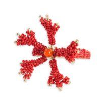 Saro Lifestyle Beaded Napkin Rings in Coral (Set of 4)