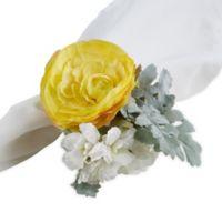 Saro Lifestyle Ranunculus Napkin Rings in Yellow (Set of 4)