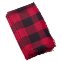 Saro Lifestyle Birmingham Plaid Fringed Napkins in Red (Set of 4)