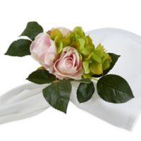 Saro Lifestyle Hydrangea Rose Napkin Rings in Pink (Set of 4)
