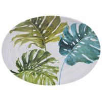 Certified International Mixed Greens Palm Leaves Oval Platter