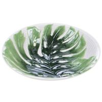 Certified International Mixed Green Palm Leaves 3D Serving Bowl