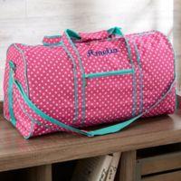 Pink Polka Dot Embroidered Duffel Bag
