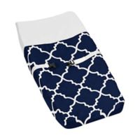 Sweet Jojo Designs Trellis Changing Pad Cover in Navy Blue/White