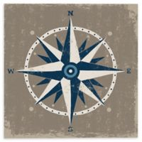 Nautical Compass 14-Inch Square Canvas Wall Art in Blue