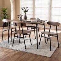 Baxton Studio Darcia 5-Piece Dining Set in Brown/Black