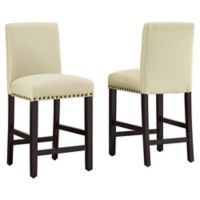 """Dwell Home® Polyester Upholstered Madrid 24.5"""" Bar Stool in Off White"""