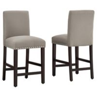 "Dwell Home® Polyester Upholstered Madrid 24.5"" Bar Stool in Light Grey"