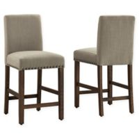 "Dwell Home® Polyester Upholstered Madrid 24.5"" Bar Stool in Taupe"