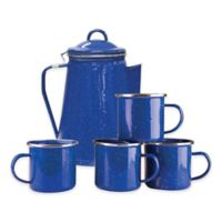 Stansport® 8-Cup Percolator Enamel Coffee Pot and Mugs Set in Blue